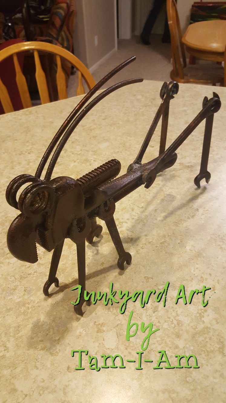 Junkyard Art by Tam-I-Am. Repurposed pipe wrench. Grasshopper. Scrap ...