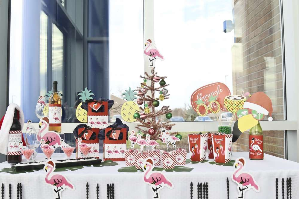 Tropical Christmas Party Ideas.Check Out The Fun Flamingle Bells Tropical Christmas Party The
