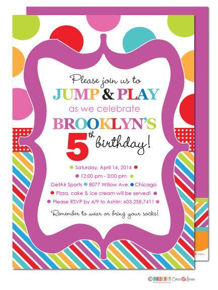 Jump Play Bouncy Party Invitation Birthday Party Invitations Birthday Invitations Jump Party