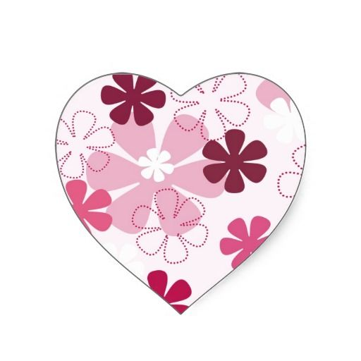 Playful Pink Pansies Heart Stickers