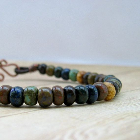 Rustic Bracelet Earthy Jewelry Leather Bead by MorningSkyJewelry