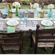 farm table with colored glass
