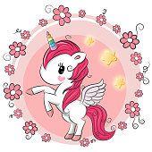 Cute Cartoon Unicorn with flowers