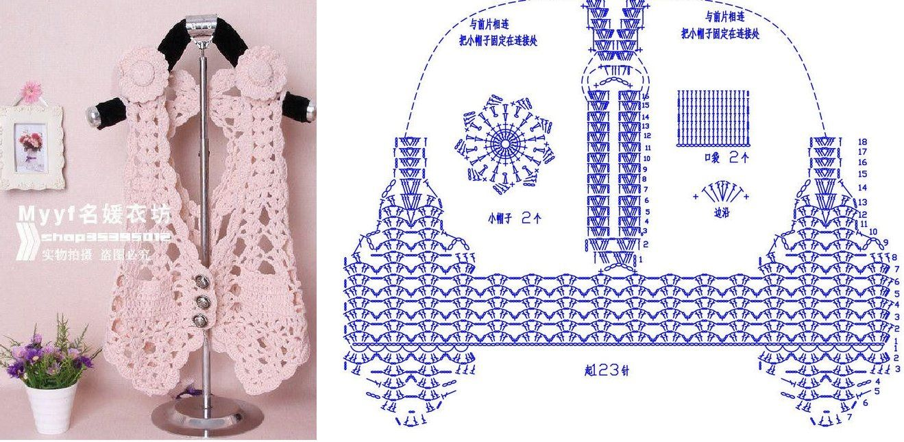 Crochet vest + diagram | Crochet sweaters | Pinterest | Ganchillo ...