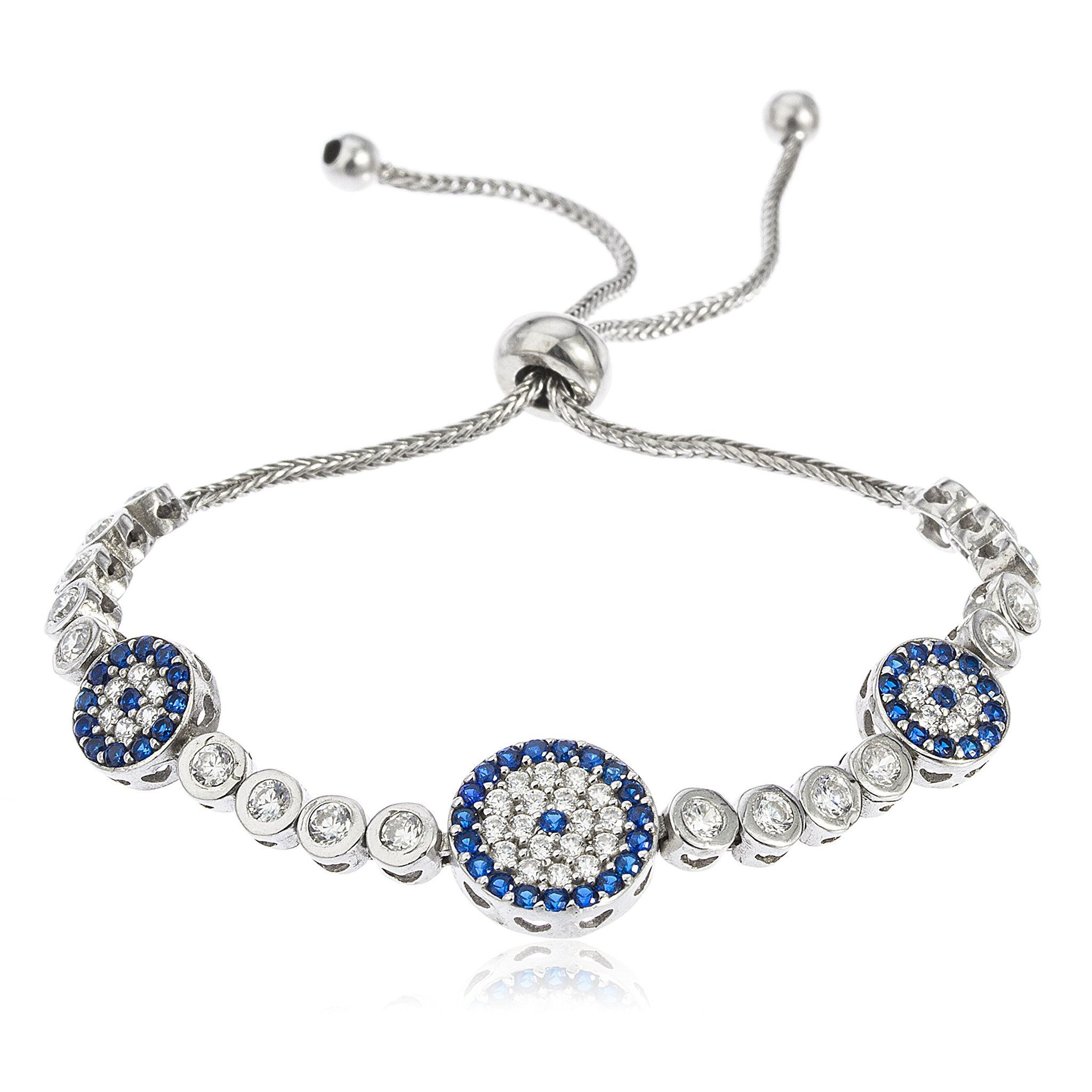 8899dc32a60132 Real 925 Sterling Silver Triple Circle Eye Bezel Cubic Zirconia Adjustable  4-8 Inch Bracelet