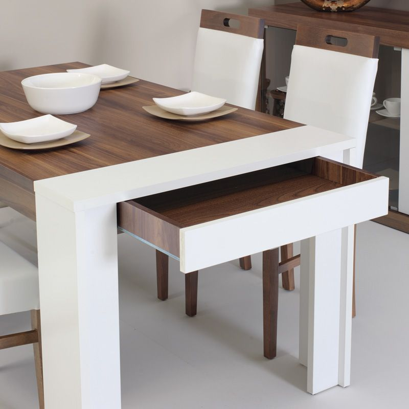 Bon Dining Table   Walnut And White With Storage Drawer