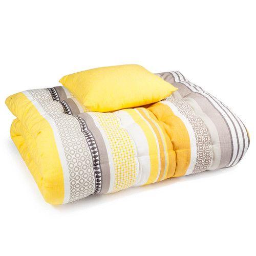matelas bain de soleil en coton jaune gris 70 x 160 cm. Black Bedroom Furniture Sets. Home Design Ideas