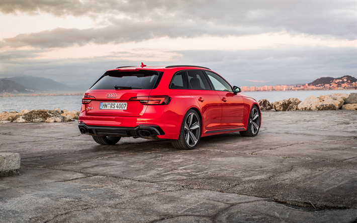 Download Wallpapers Audi Rs4 Avant 2018 4k Rear View Red Estate New Red Rs4 Exterior German Cars Audi Besthqwallpapers Com Audi Rs Audi Red Audi
