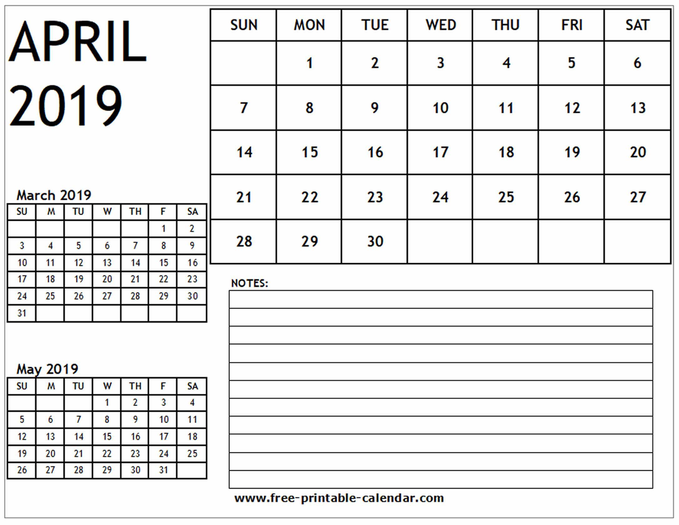 Blank Calendar April