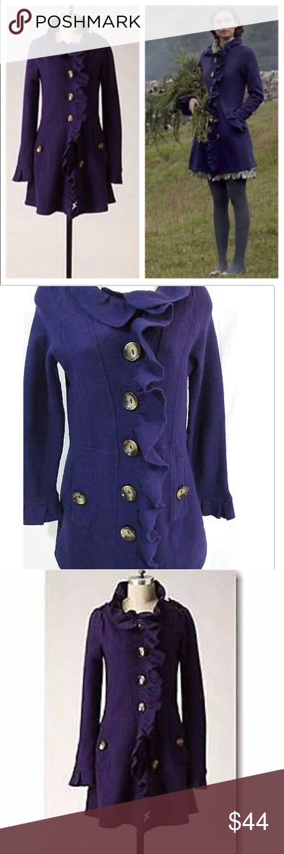 Anthropologie Gumshoe Sweater Coat Anthropologie Purple Gumshoe Sweater Coat by Charlie & Robin. Size Medium. 100% Wool. This gorgeous coat is soft + comfortable. It's the perfect combination of cozy + girly, and it works with almost anything! In great, pre-loved condition. Anthropologie Jackets & Coats Pea Coats