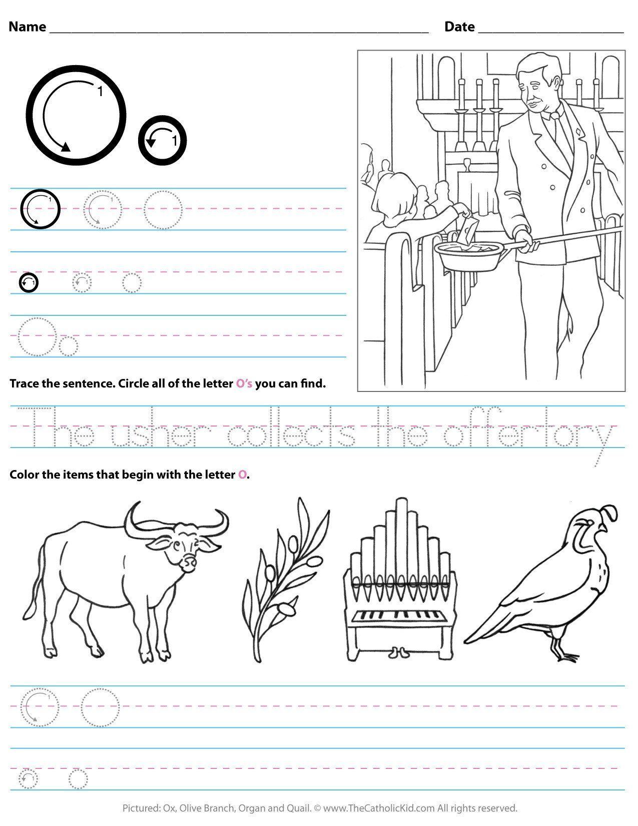 Letter O Worksheet For Kindergarten Catholic Alphabet
