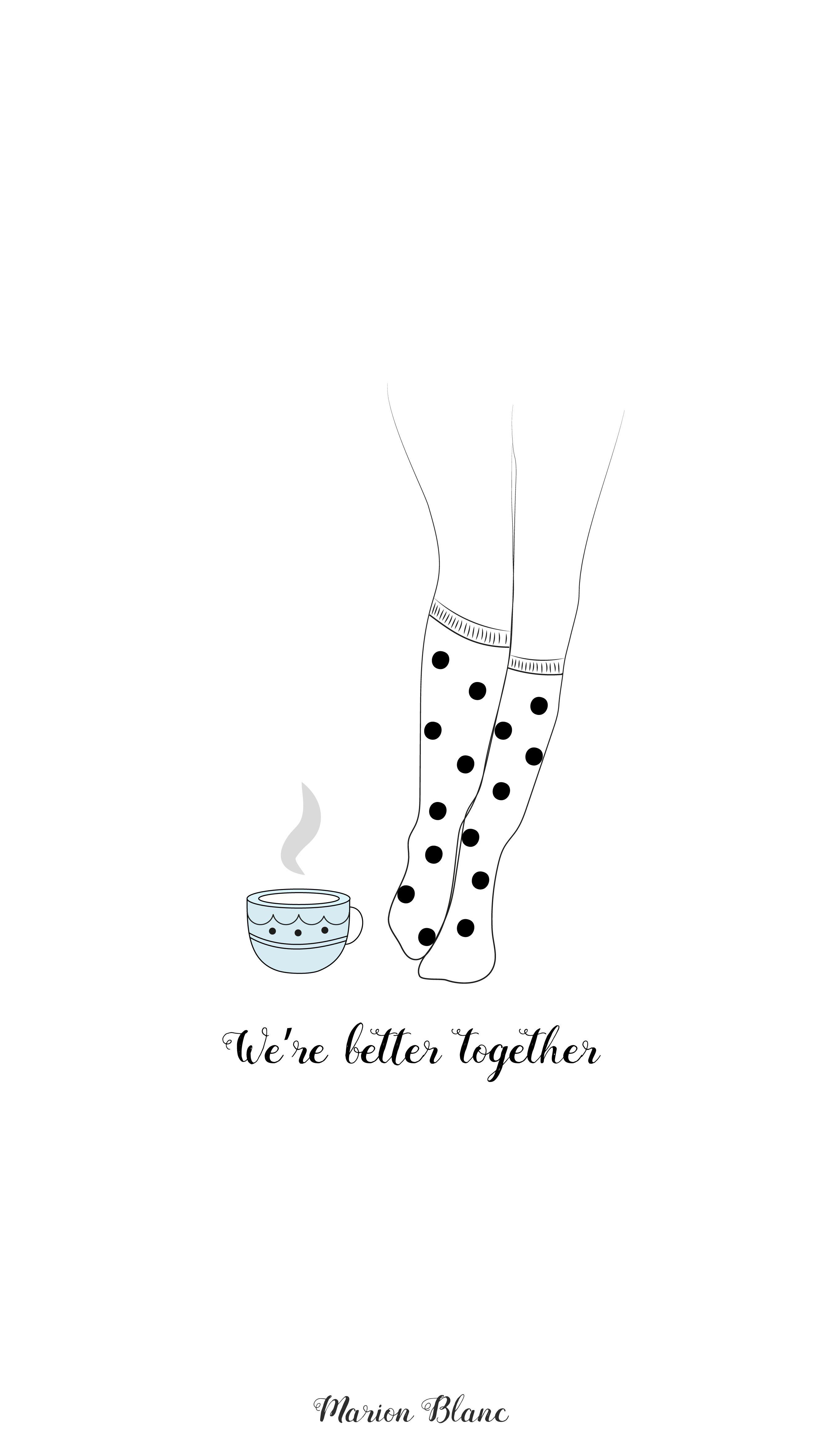tea and socks wallpaper iphone - Marion Blanc