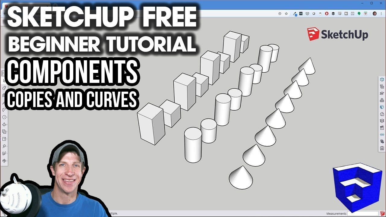 Getting Started With Sketchup Free Lesson 3 Components Copies And Curves The Sketchup Essentials Sketchup Free Free Lessons Get Started