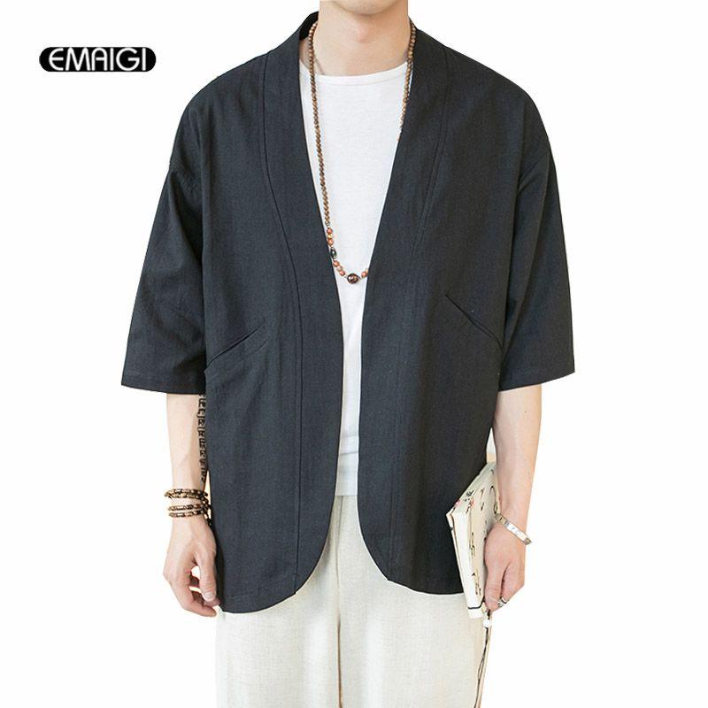 Men Linen Cotton Kimono Outerwear Loose Floral Raglan Sleeve Coat Jacket Chinese