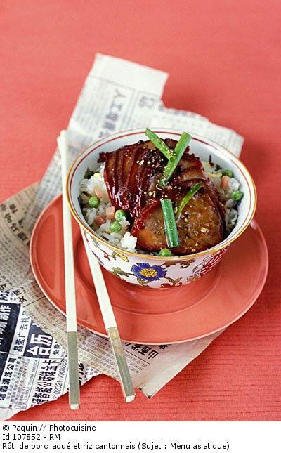 Détail de l'image 107852: Rôti de porc laqué et riz cantonnais (Sujet : Menu asiatique)