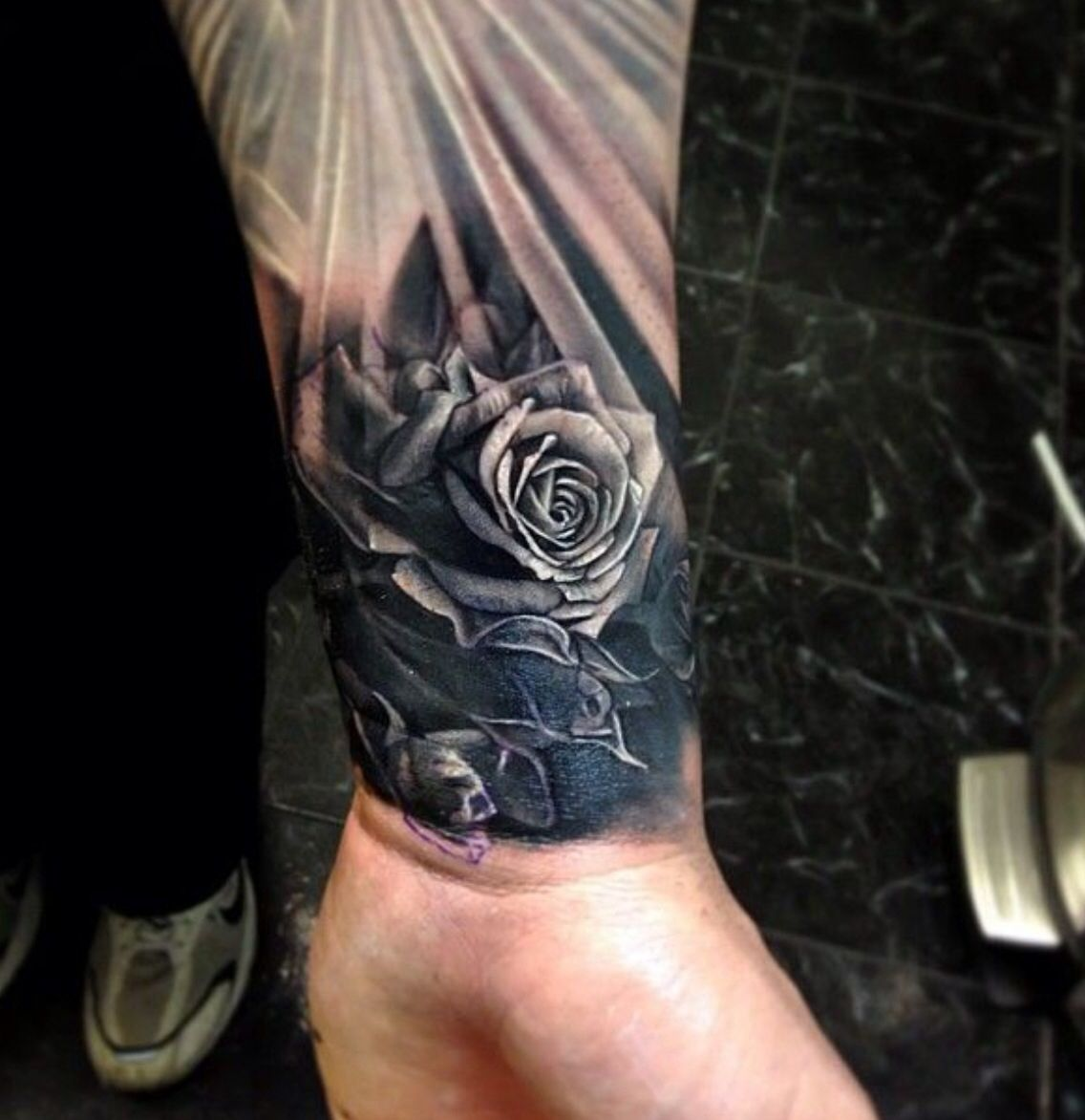 Realistic Men S Wrist Tattoo Idea Of Rose Wrist Tattoos For Guys Rose Tattoos For Men Quarter Sleeve Tattoos