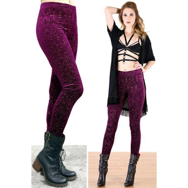 90'S Wineberry Victorian Burnout Velvet Leggings ($34) ❤ liked on Polyvore featuring pants, leggings, grey, women's clothing, stretch velvet pants, gothic pants, steampunk pants, bohemian pants and velvet leggings