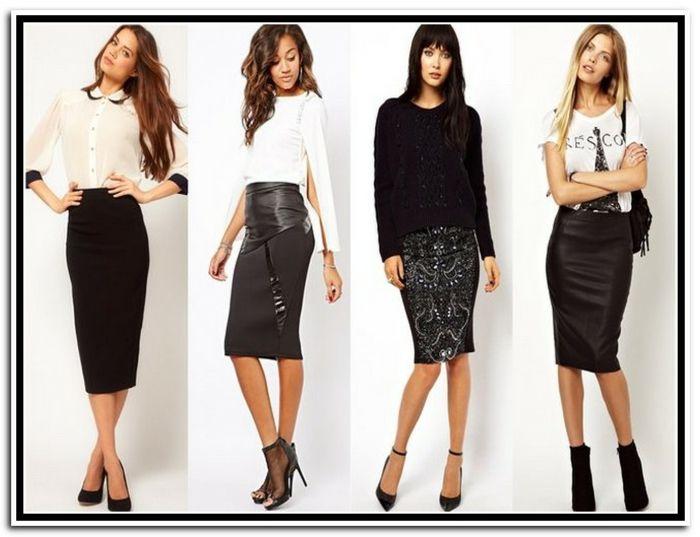 Festliche Abendgarderobe Ideen Fur Frauen In Schwarz Und Weiss Absatzschuhe Lange Haare Pencil Skirt Outfits Pencil Skirt Skirt Fashion