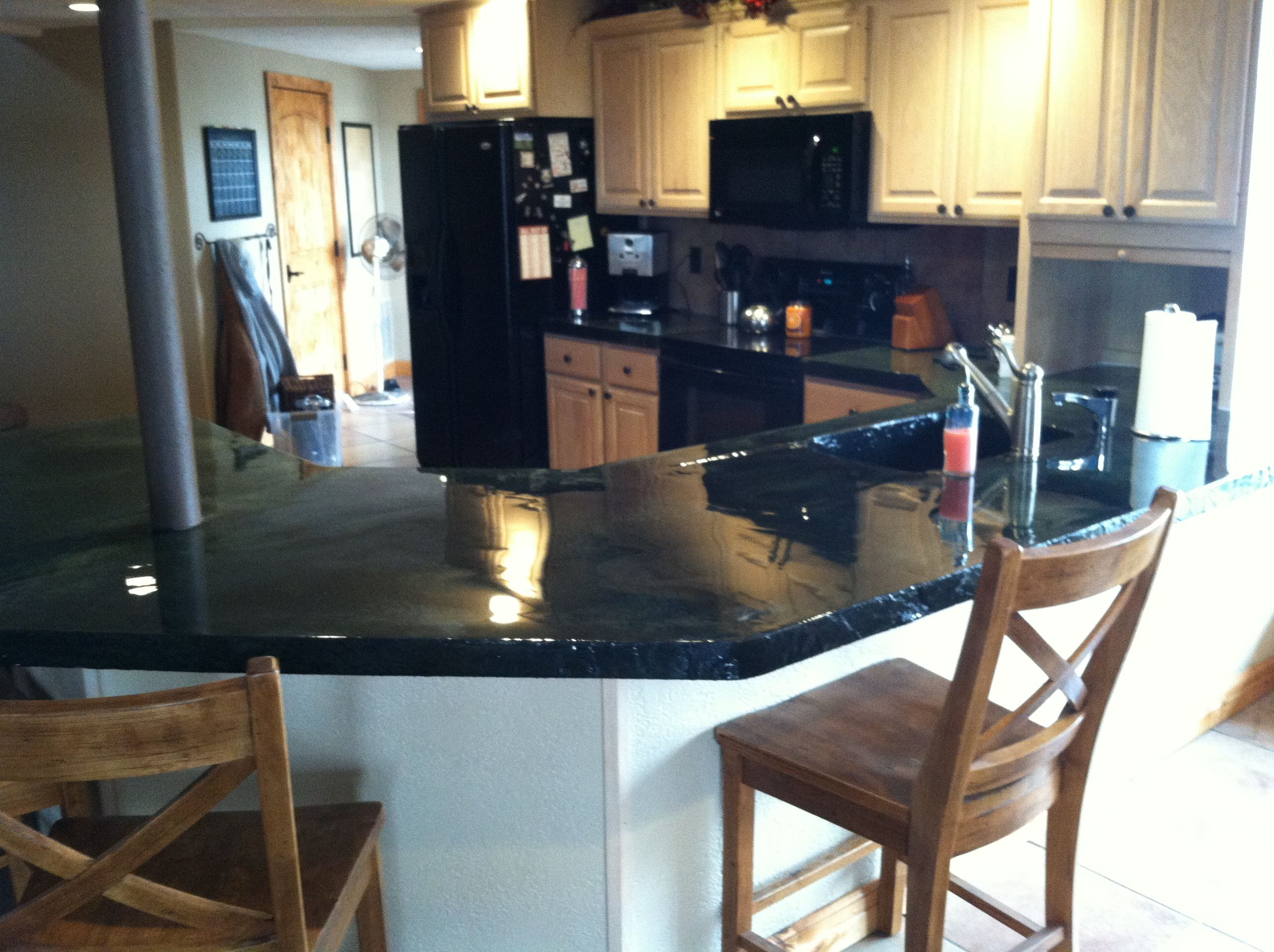 Cast In Place Concrete Countertop With Concrete Sink And
