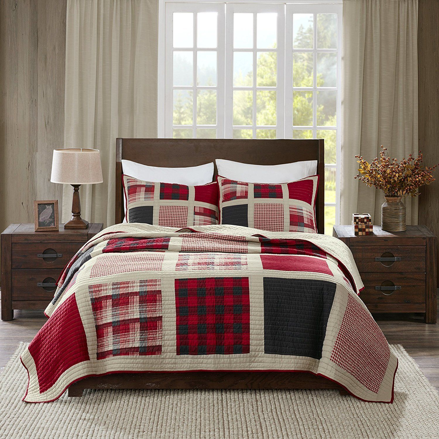 reversible king flannel bn martha s duvet red covers stewart b bedding ebay appleton cover plaid sets