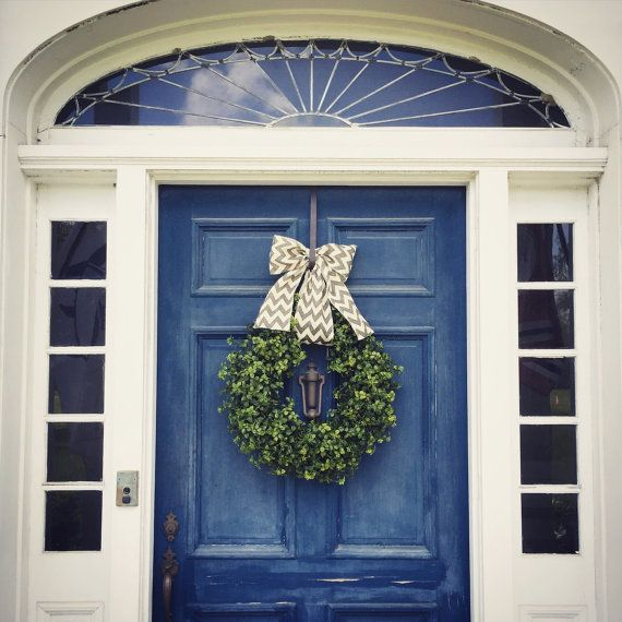 Faux Boxwood Wreath Summer Wreath 22 inches by SolidWoodDoor
