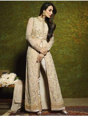 01074e2848926 Beautiful Beige Malaika Arora Khan Bollywood Salwar Kameez
