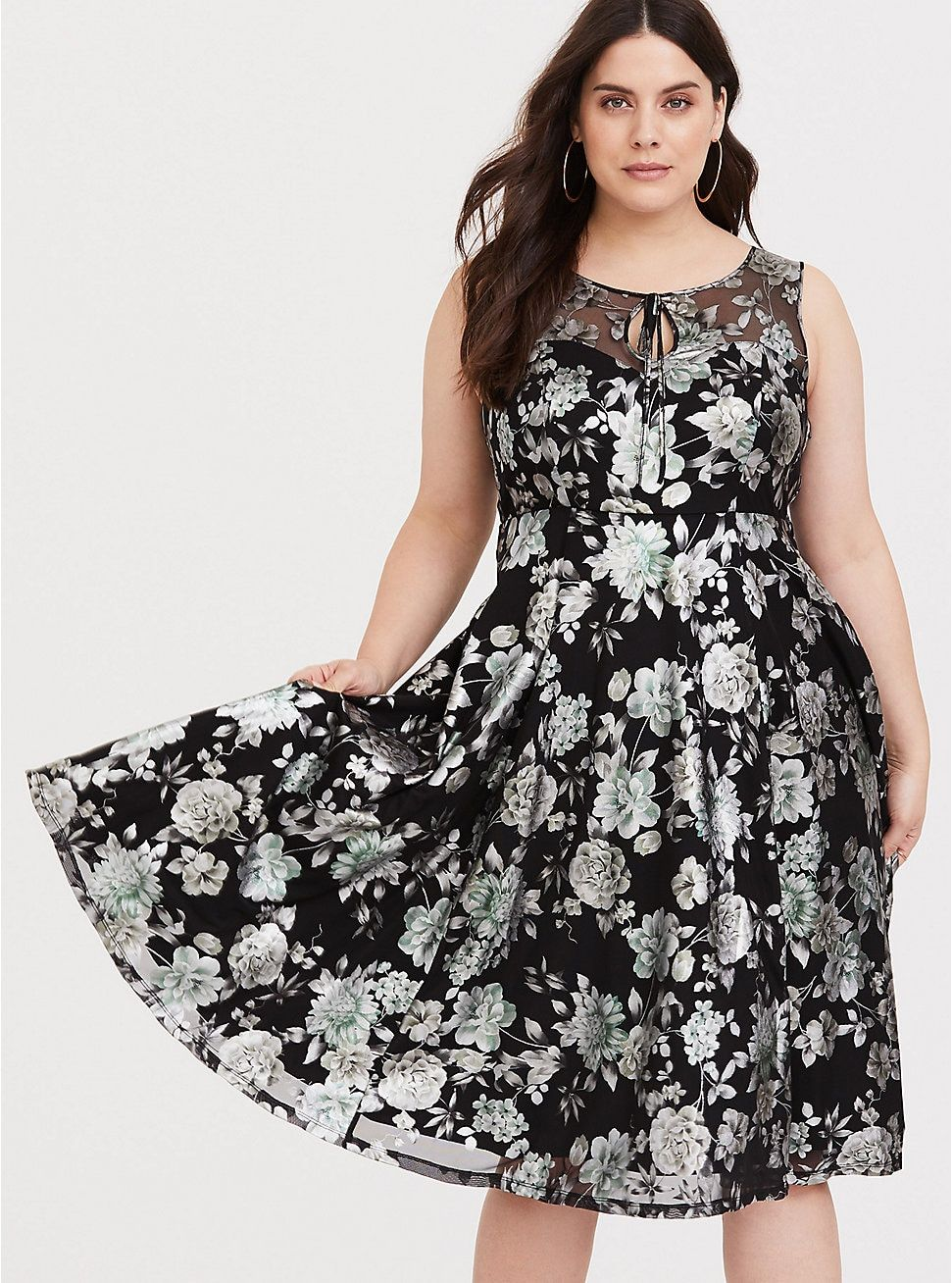 Retro Chic Floral Illusion Midi Skater Dress in 2019 ...