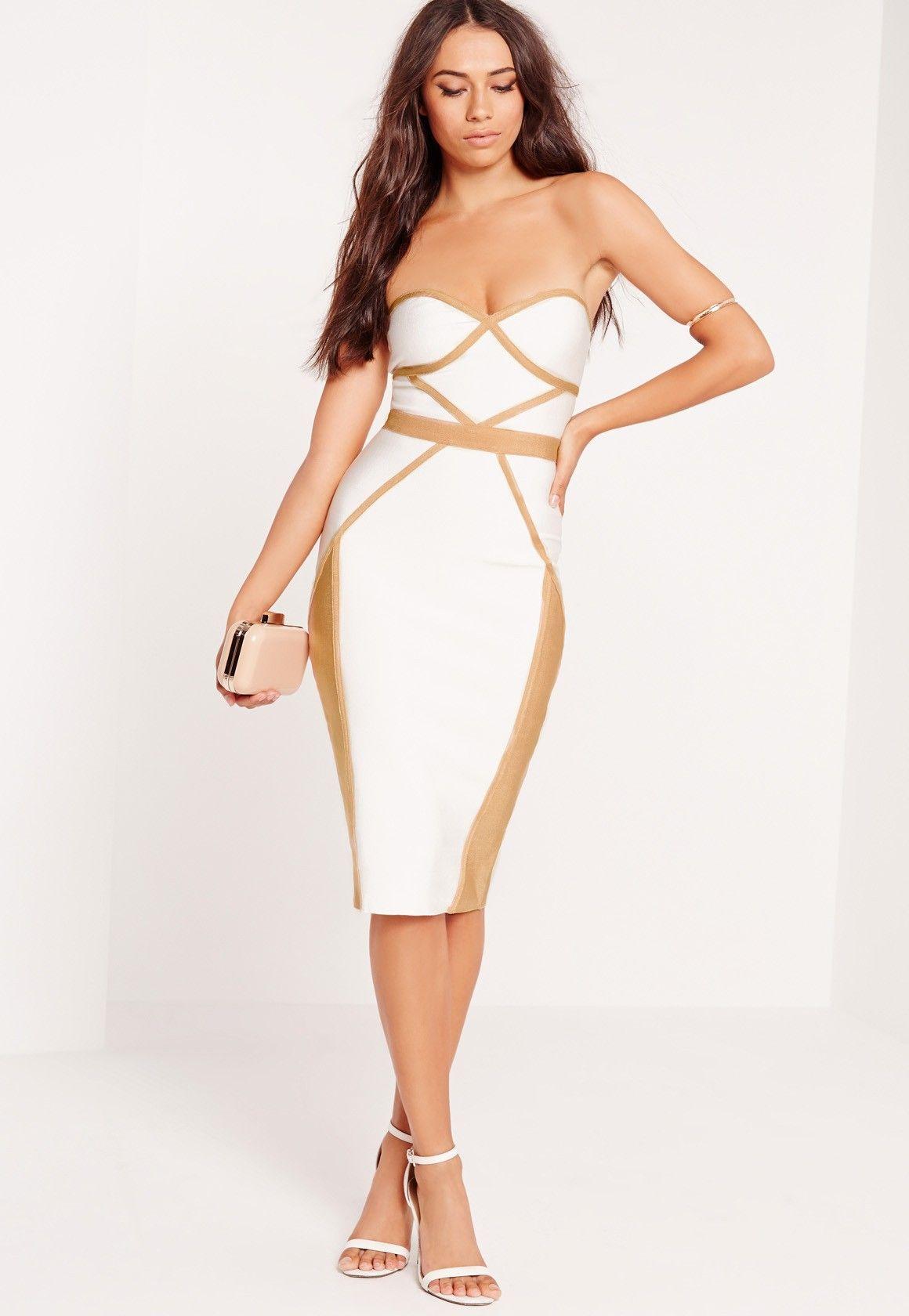 Missguided Premium Contrast Piping Bandeau Bodycon Midi Dress White Midi Dresses Uk Midi Dress Bodycon Dresses [ 1680 x 1160 Pixel ]