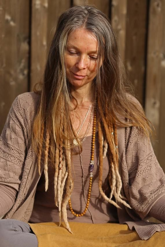 Photo of Felt GYPSY Dreads in Light Brown Alpaca Wool with Blond Points//5 DE Natural Dreads Extensions//Hair Extensions/Wool Dreads/Double end/Beads