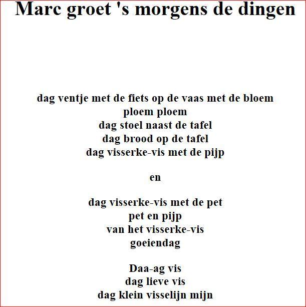 Marc Groet S Morgens De Dingen Gedichten