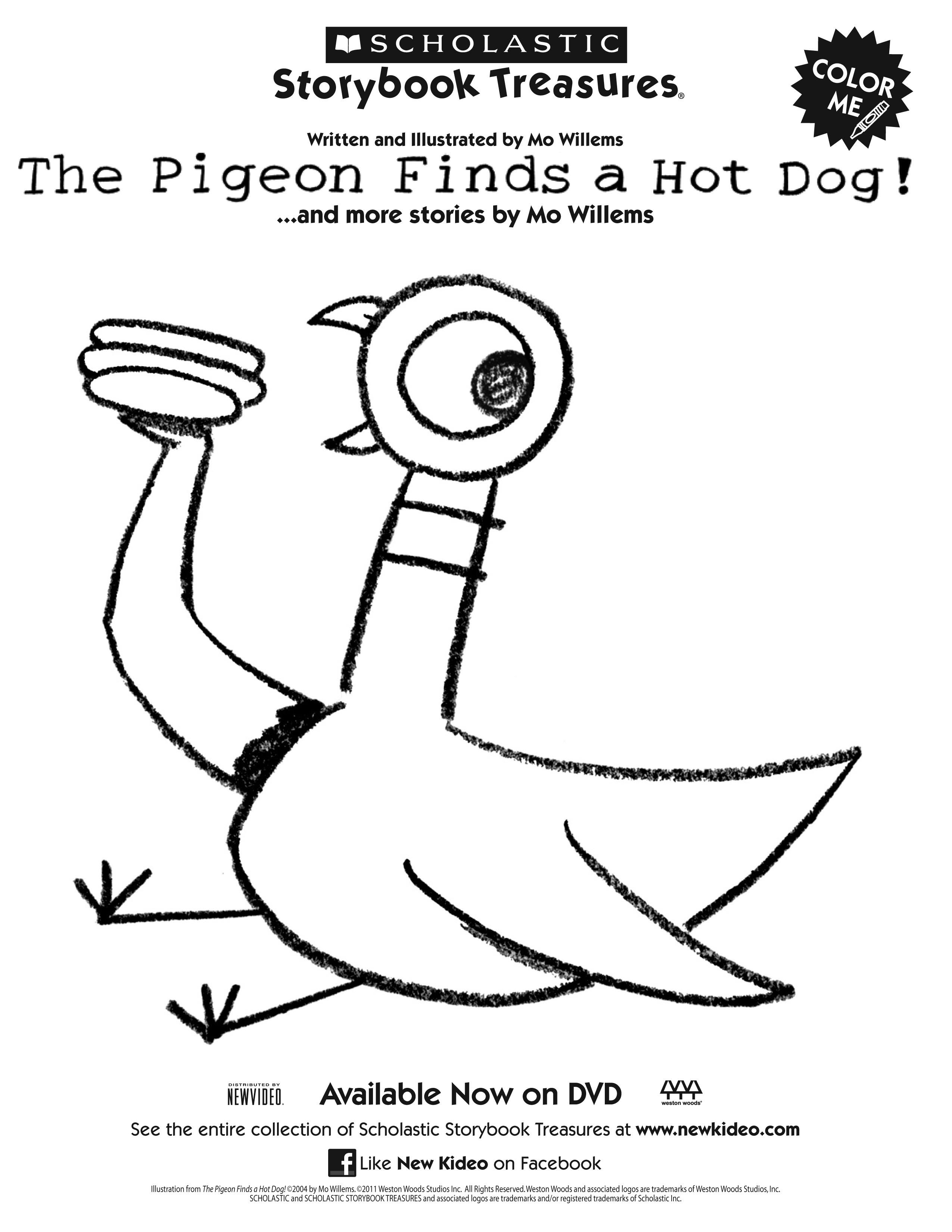 Pigeon Finds a Hot Dog printable coloring sheet Art With Kids