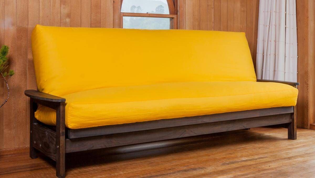 Studio Base In Sofa Position With Latex Wool Futon And Yellow Coloured Canvas Cover Double