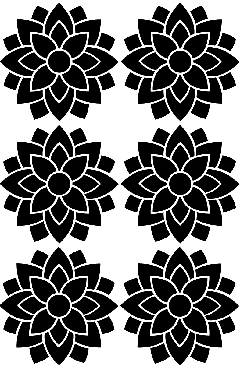 6 Large Flower Wall Decals Metallic Gold Silver Black Or White