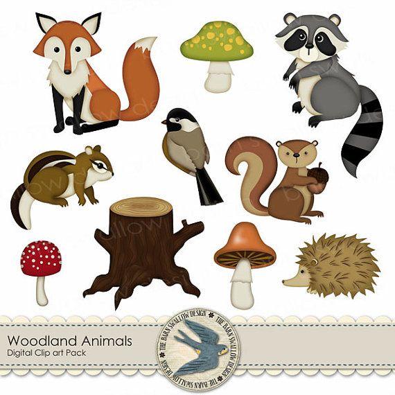 Digital Clip Art Pack Instant Download Woodland Etsy Digital Clip Art Clip Art Woodland Animals