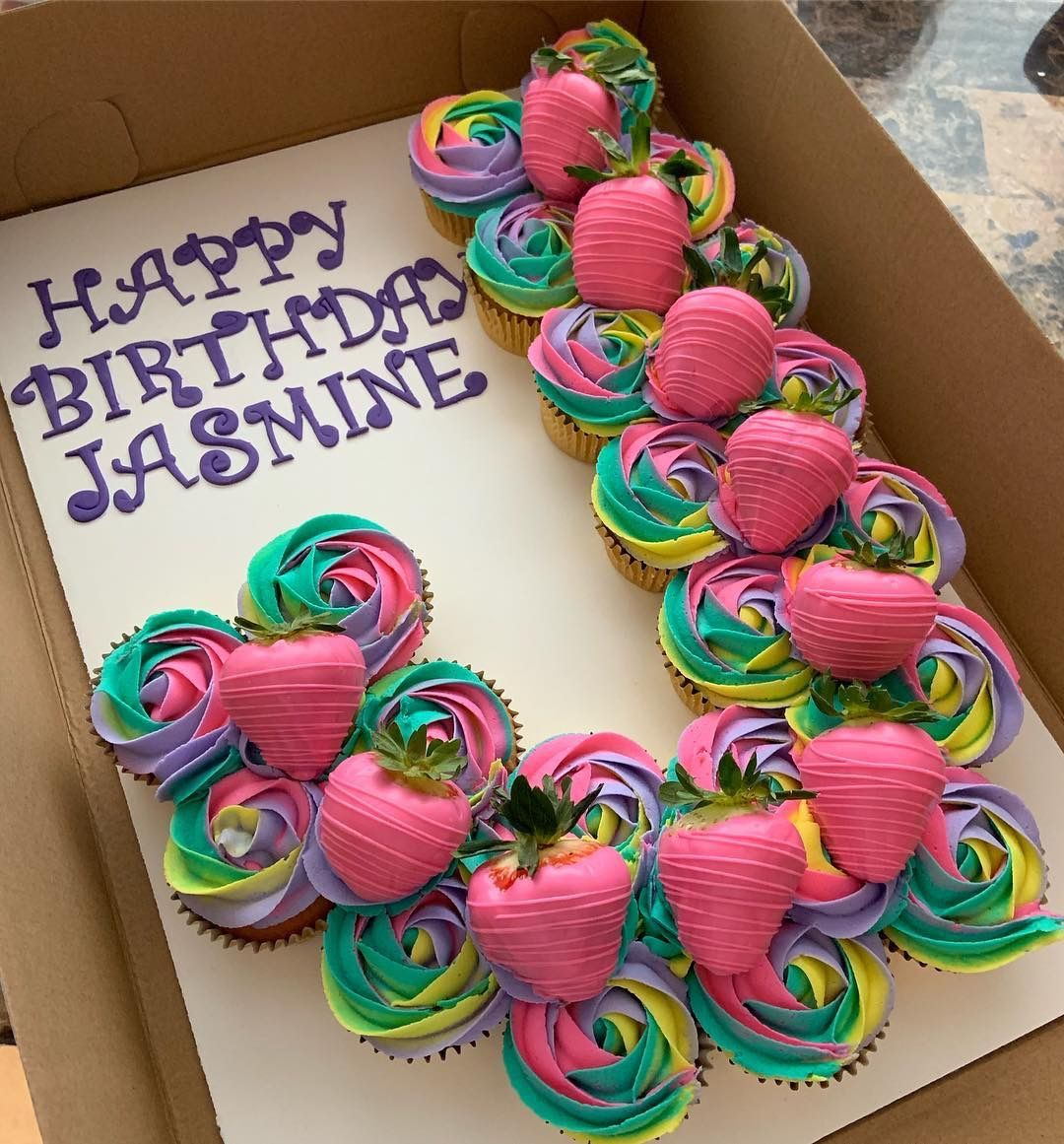 Colorful Cupcake Cake In Purple And Pink With Pink Strawberries