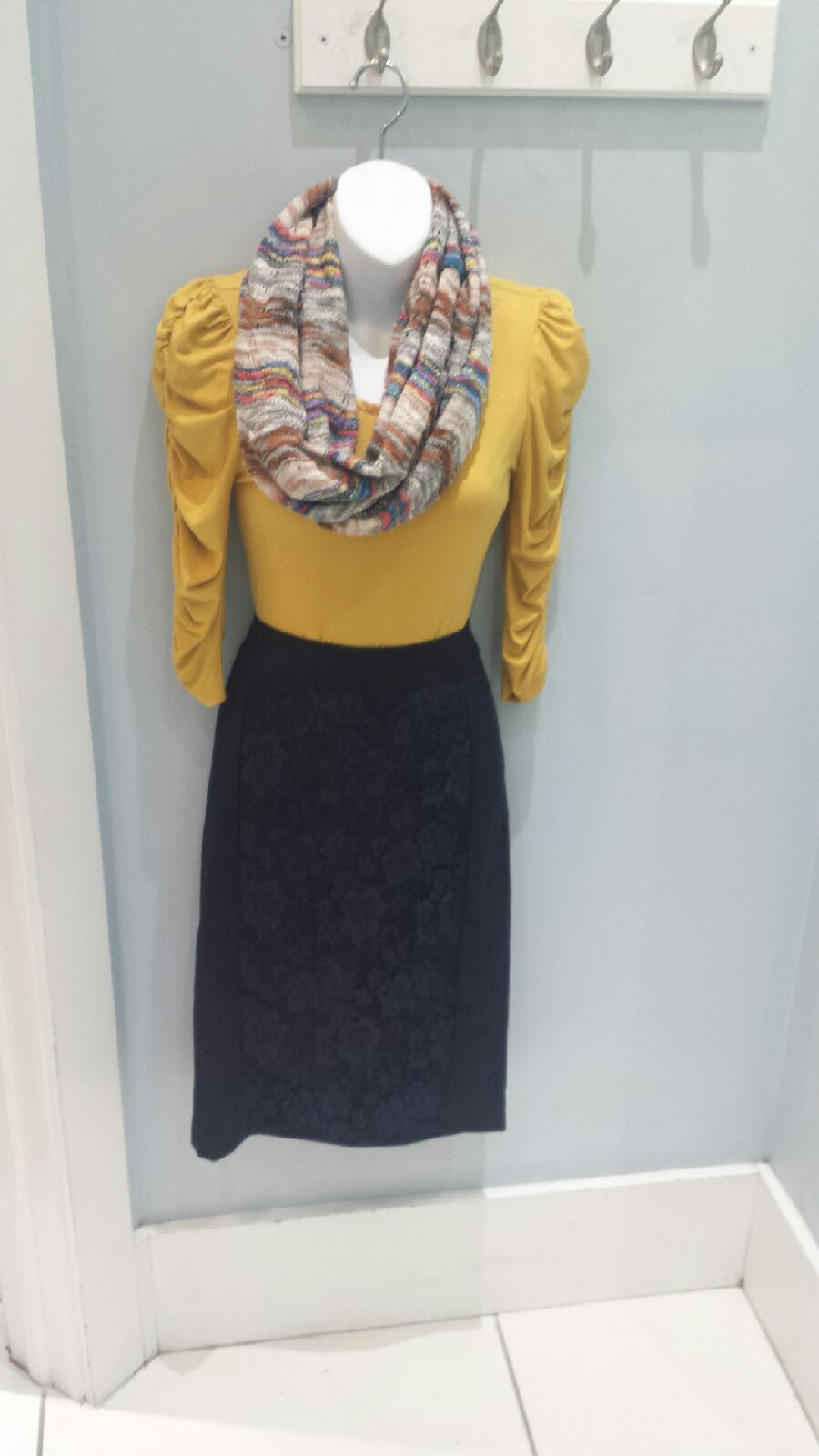 Thin satin collar top $14.99, Mikarose lace panel skirt $19.99, knitted scarf $16.99