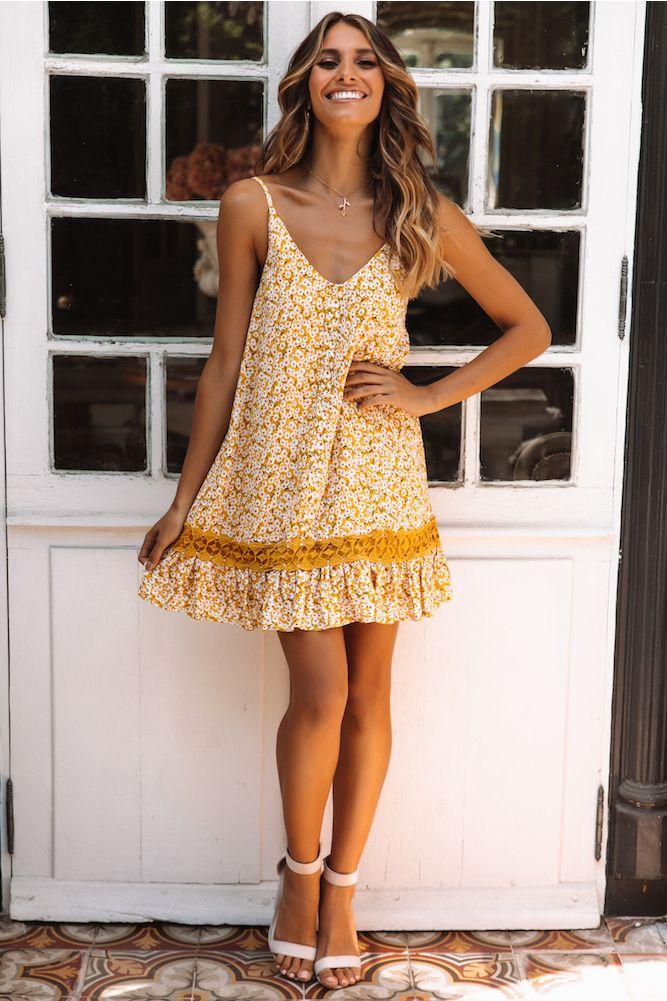 7fbda2bcaddb Saffron Yellow Floral Dress in 2019 | Dresses | Yellow floral dress ...