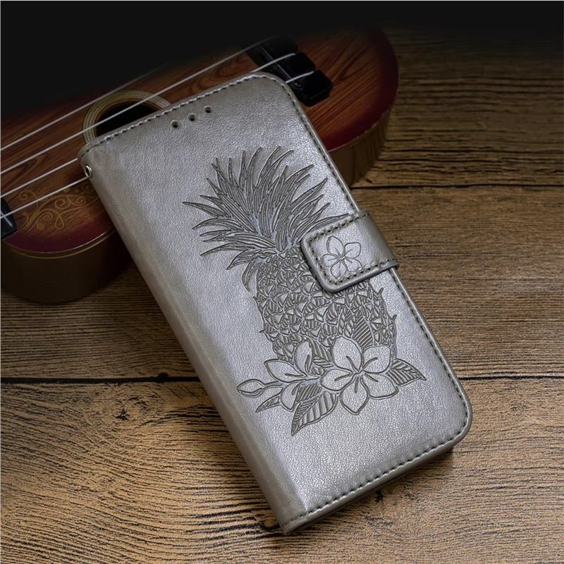 Embossing Flower Pineapple Leather Wallet Case for iPhone 8 / 7 (4.7 inch) - Gray - Leather Case - Guuds #leatherwallets