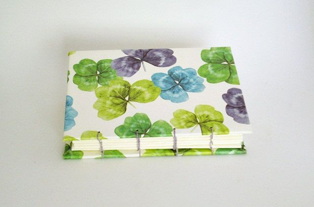 Mini Handbound Notebook Idea Book or Journal - Green Blue & Purple Clover - Hand Bound in a Coptic Stitch