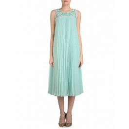 Sky Blue Pleated Dress with Multicolor Beads