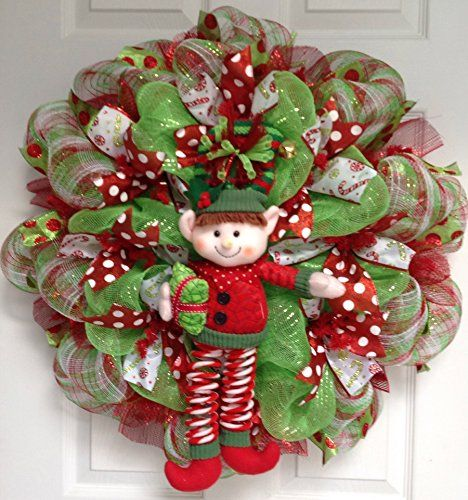 New Jingle Bell Christmas Elf Holiday Wreath Handmade Deco Mesh What A Mesh by Diana http://www.amazon.com/dp/B00QKZPEBE/ref=cm_sw_r_pi_dp_dcZTub0XX981Z