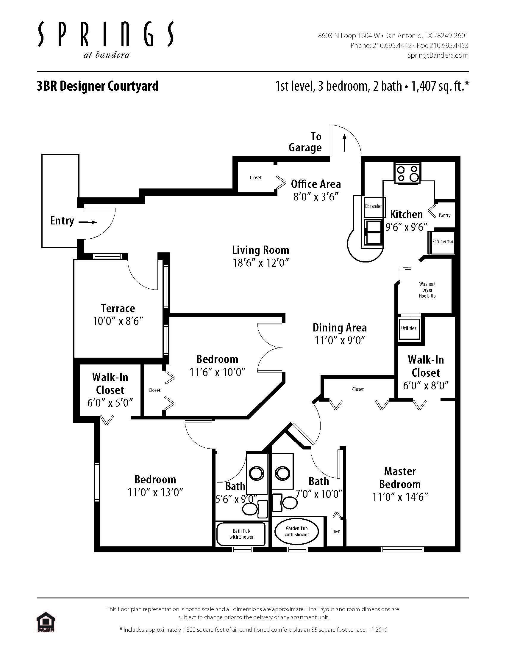 A 3 bedroom 2 bath 1322 sf apartment at springs at
