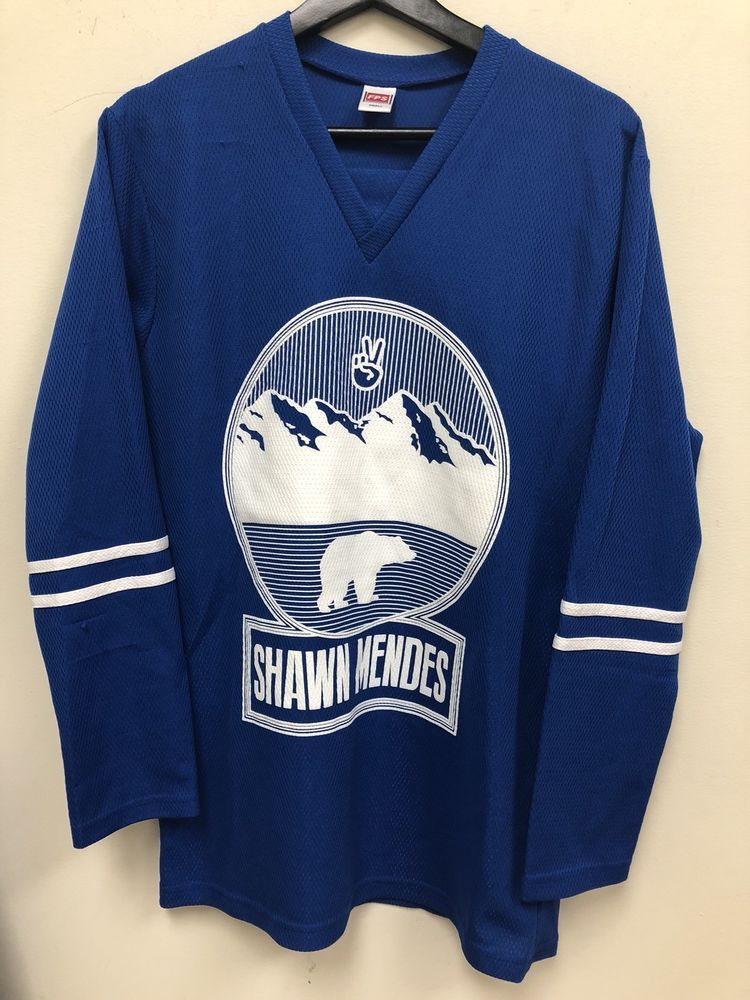 6491fc594 Details about Shawn Mendes Hockey Jersey Blue Size Adult Small Nice ...
