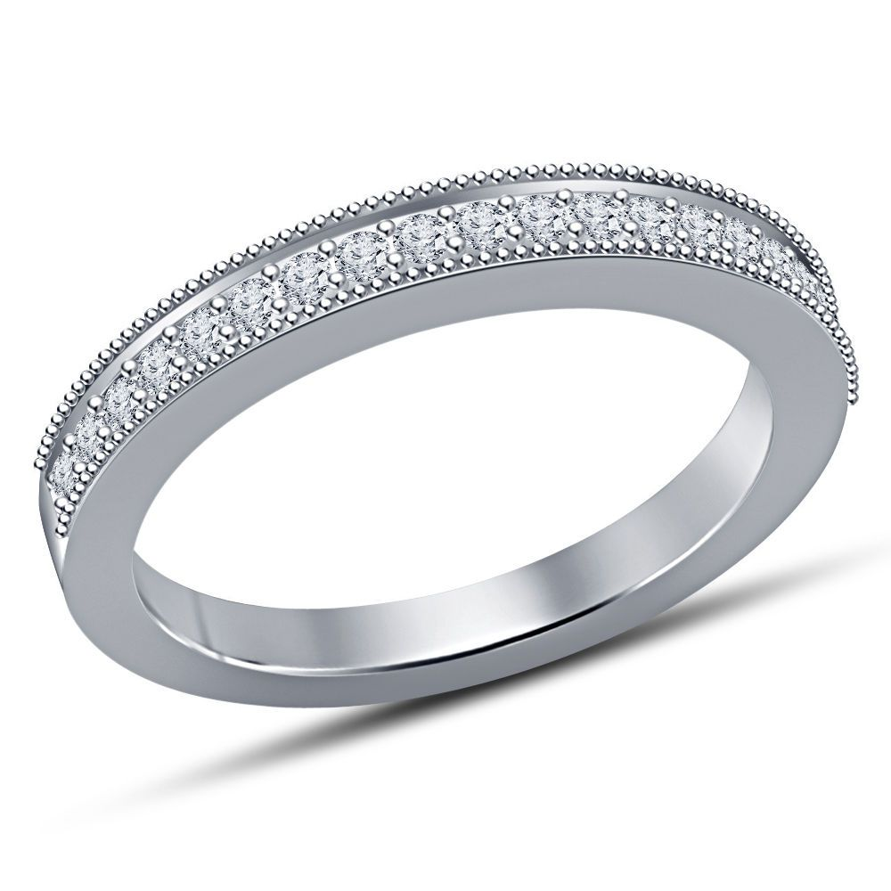 White Gold Over 925 Silver Round Sim Diamond Ladies Band Size 5 6