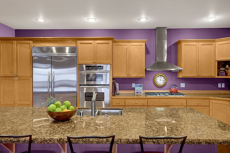 Purple kitchen paint beautiful maple cabinets and granite for Purple paint in kitchen