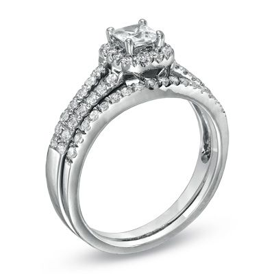 1/2 CT. T.W. Princess-Cut Diamond Frame Split Shank Bridal Set in 14K White Gold - View All Rings - Zales