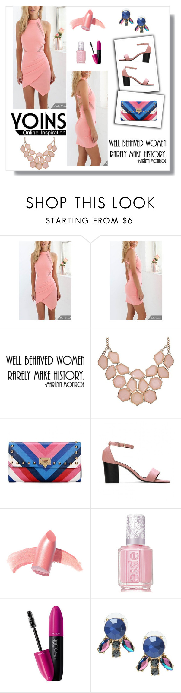 """Yoins Open Back Dress - Yoins Contest"" by helen5526 ❤ liked on Polyvore featuring Elizabeth Arden, Essie, Revlon and yoins"