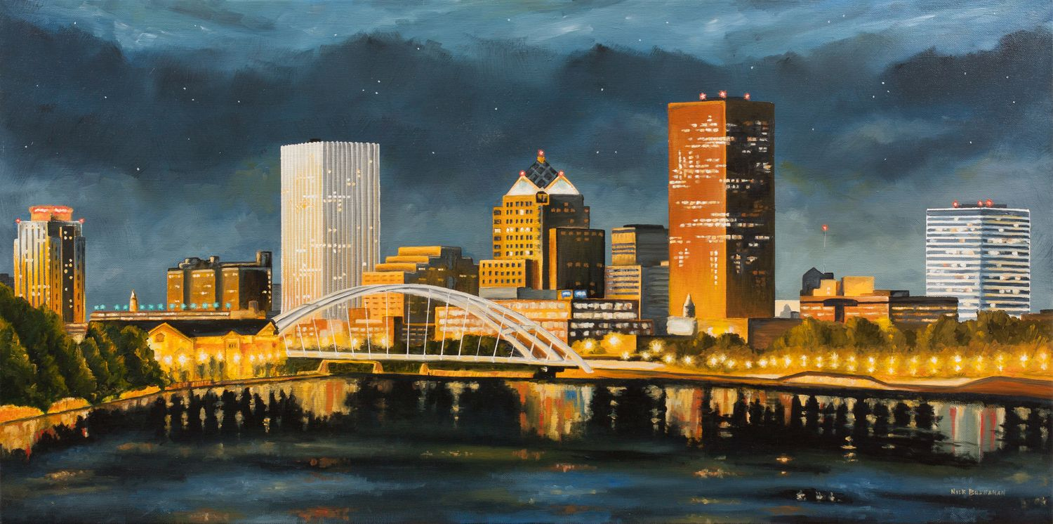 rochester skyline Google Search New york painting
