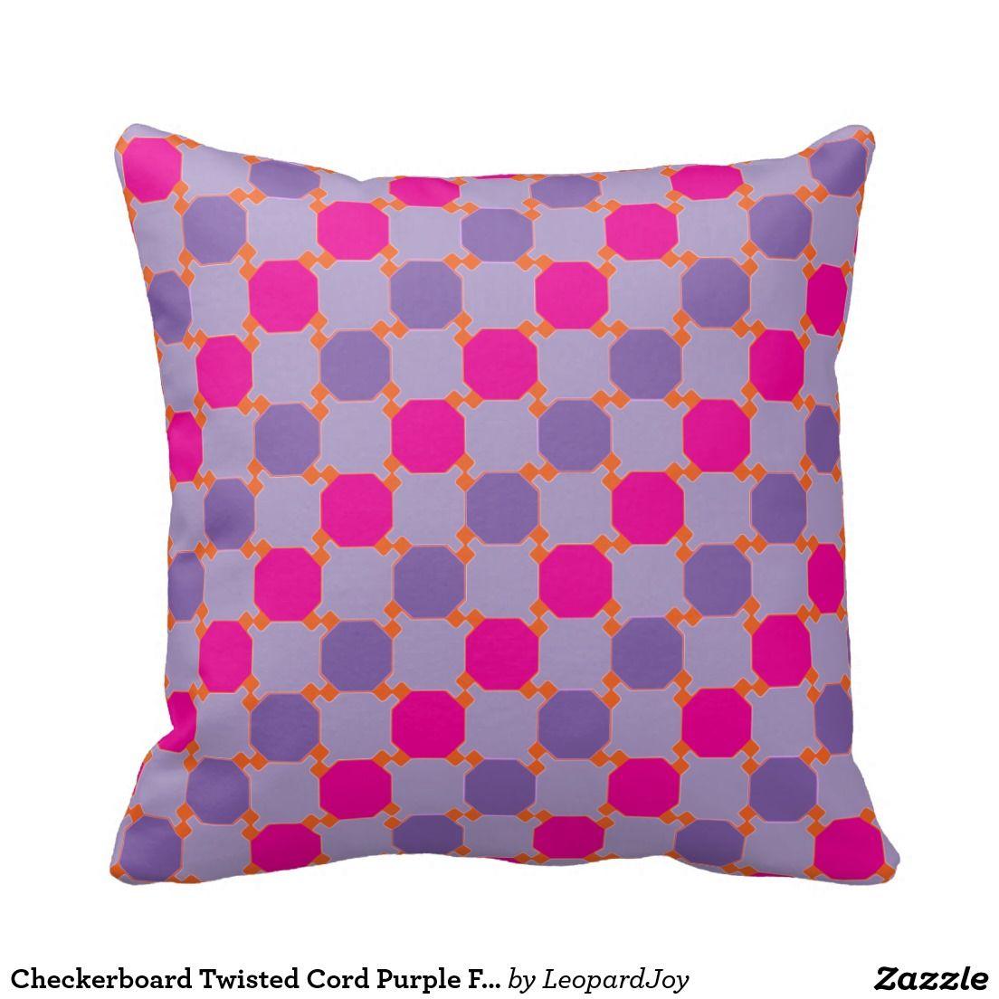 Checkerboard twisted cord purple fuchsia pillow cord and pillows