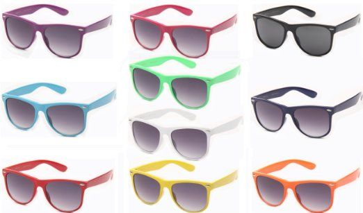 c4af336ec5 Amazon.com  10 Pack 80 s Classic Blue Brothers Solid Neon Color Oversized  Wayfarer Styles